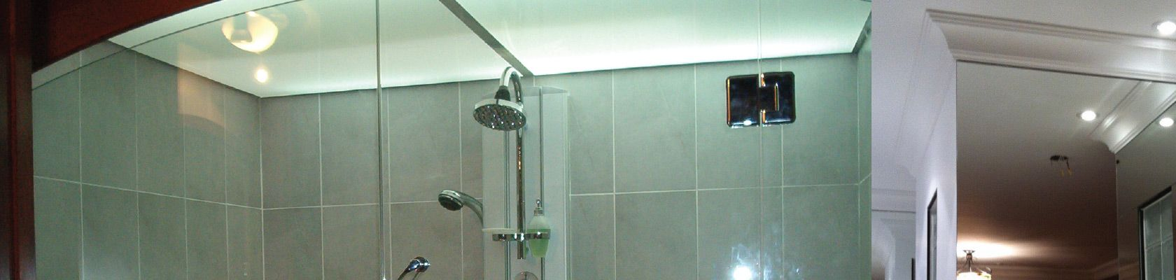 Glass shower and mirrors